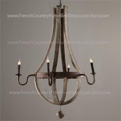 Restoration Hardware Wine Barrel 5 Arm Chandelier
