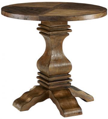 Restoration Hardware Pedestal Salvaged Wood Round Side