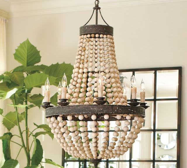 pottery barnu0027s elena wood bead chandelier u003d 499