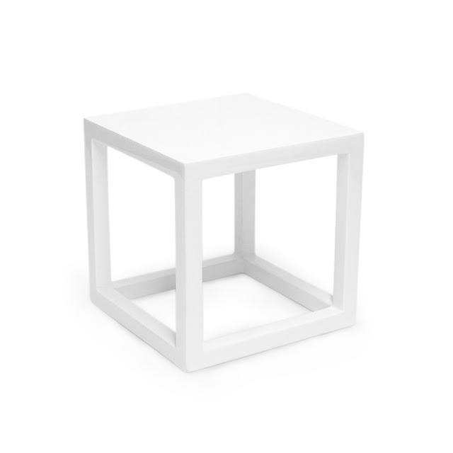 Jonathan Adler White Lacquer Cube Copy Cat Chic