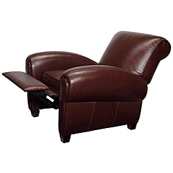 Overstocku0027s Miguel Brown Leather Recliner Club Chair ...