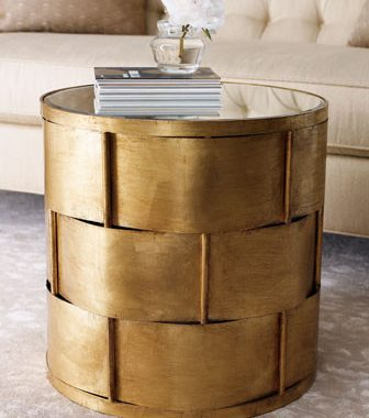 Horchow Woven Antiqued Gold-Leafing Side Table