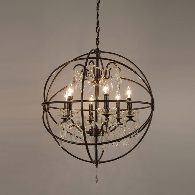 Unique OVERSTOCK FOUCAULT uS ORB CRYSTAL IRON CHANDELIER