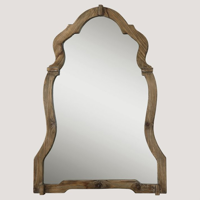 POTTERY BARN TEEN WALNUT ORNATE MIRROR