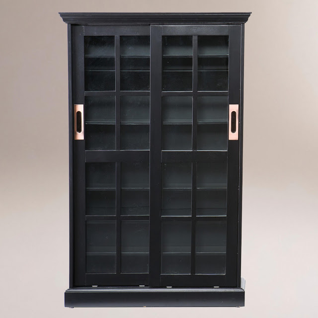 COST PLUS BLACK SLIDING DOOR BOOKCASE AND MEDIA CABINET