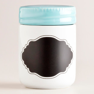 COST PLUS AQUA CERAMIC SPICE JAR WITH CHALK LABEL