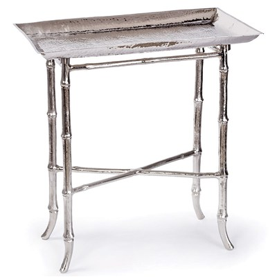 ZINC DOOR REGINA ANDREW NICKEL BAMBOO TRAY TABLE