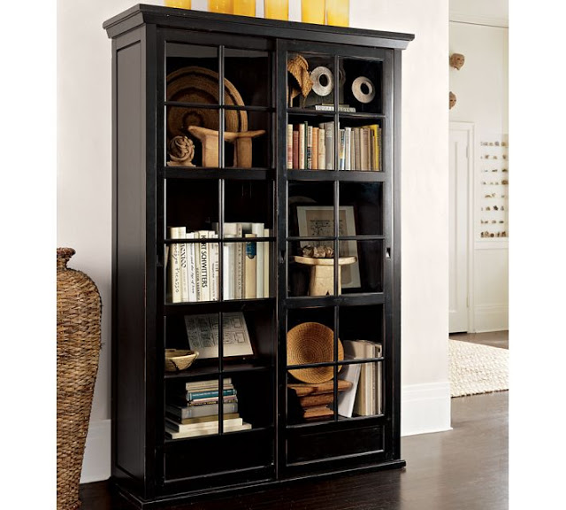 POTTERY BARN GARRETT GLASS CABINET