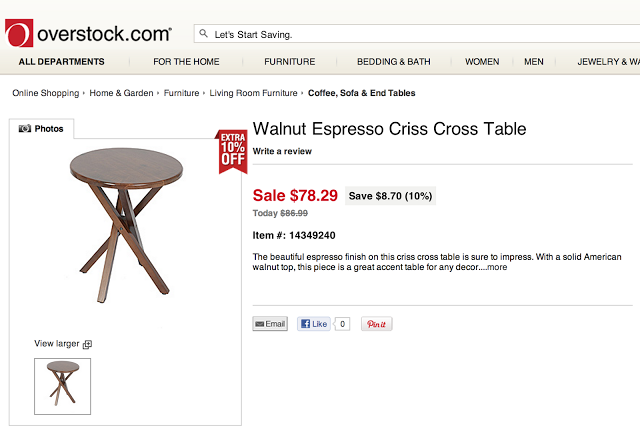 OVERSTOCK WALNUT ESPRESSO CRISS CROSS TABLE