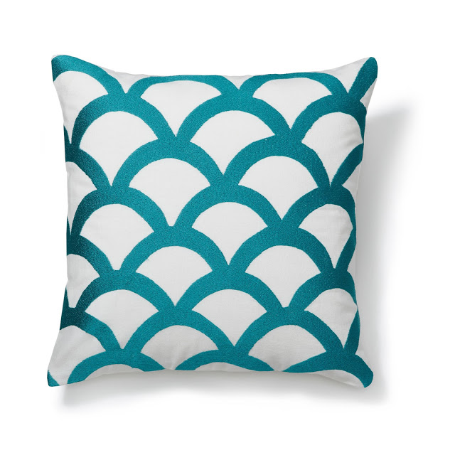 C WONDER EMBROIDERED WAVE PILLOW COVER TEAL