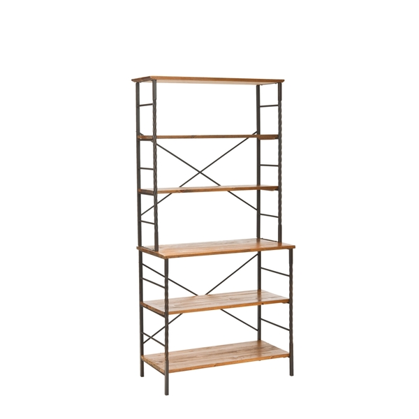 OVERSTOCK CHESTERFIELD WALNUT ETAGERE
