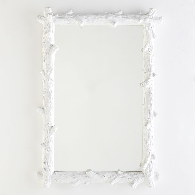 WISTERIA WHITE FAUX BOIS MIRROR