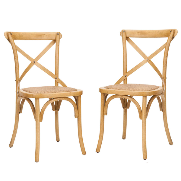 OVERSTOCK CLASSICAL BRADFORD X BACK OAK FINISH SIDE CHAIRS (SET OF 2)