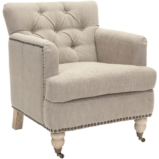 OVERSTOCK MANCHESTER TAUPE BRASS NAILHEAD CLUB CHAIR