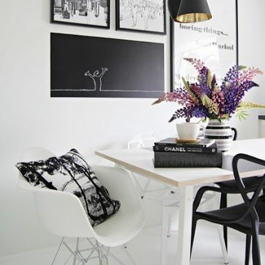 Copy Cat Chic Room Redo: All Black and White & Modern Dining Room