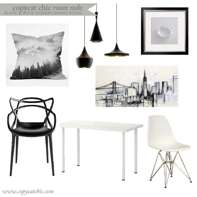 Copy cat chic room redo all black and white modern for All white dining room