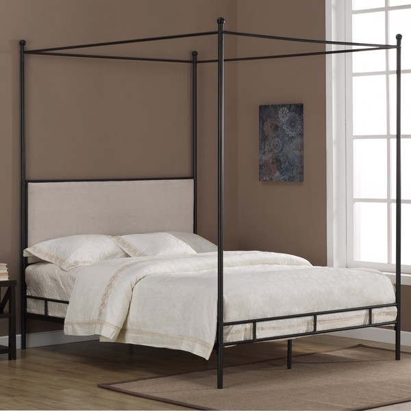 OVERSTOCK LAUREN UPHOLSTERED CANOPY BED