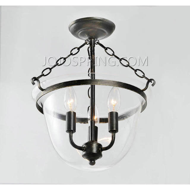 JOJO SPRING ANTIQUE COPPER FINISH GLASS FLUSHMOUNT CHANDELIER