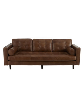 NEIMAN MARCUS' ALBANIA LEATHER SOFA
