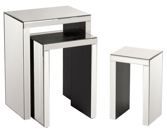 ARCADIAN HOME HOWARD ELLIOTT MIRRORED ACCENT NESTING TABLES