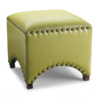 GRANDIN ROAD ARCHED NAILHEAD OTTOMAN IN TEXTURED CITRINE