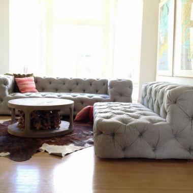 Restoration Hardware Soho Tufted Upholstered Armless Chaise