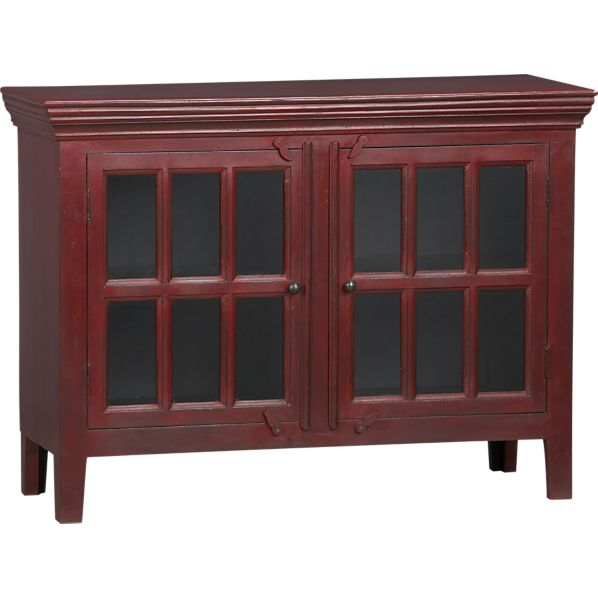 Crate And Barrel Rojo Red Media Storage Cabinet