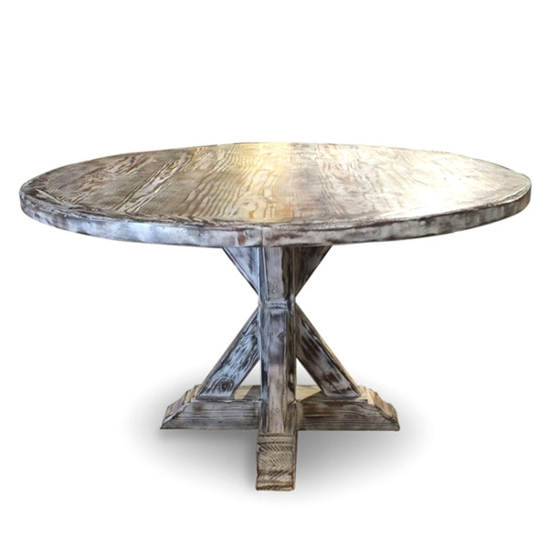 Restoration hardware distressed elm belgian trestle round for Distressed round dining table