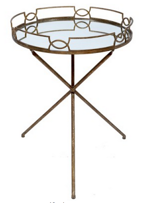 Charlotte & Ivy Amanda Gold Mirrored Drinks Tray Table