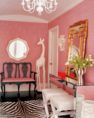 Copy Cat Chic Room Redo | Jonathan Adler Pink Entryway - copycatchic