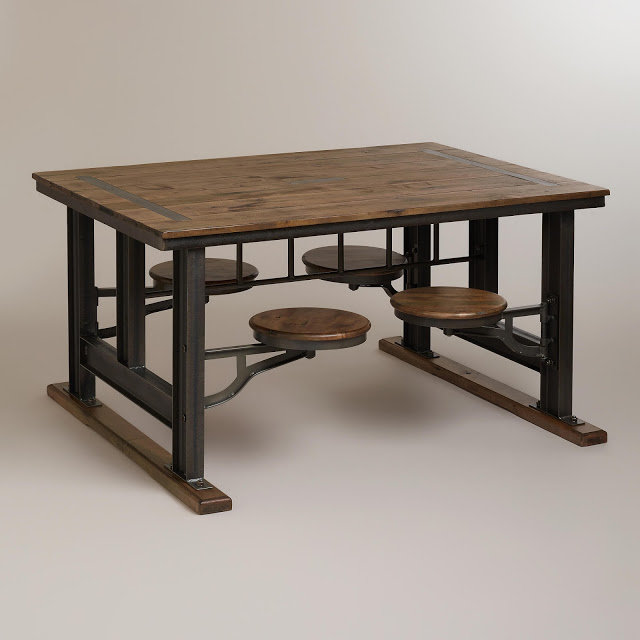Nuevo V45 Reclaimed Wood Top Dining Table With Attached
