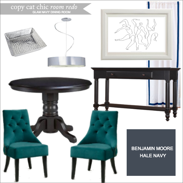 Copy cat chic room redo glam navy dining room copy cat for Glam dining table
