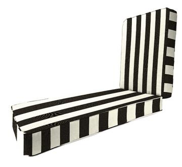 Pottery barn black and white striped chaise cushion copy for Blue and white striped chaise lounge cushions