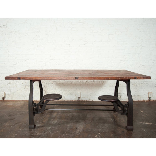 Epic Nuevo V Reclaimed Wood Top Dining Table with Attached Stools