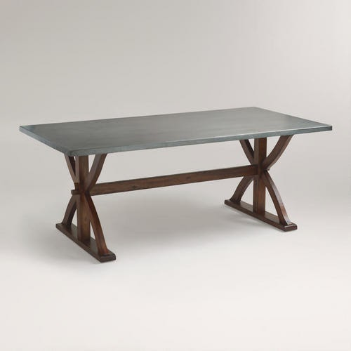 Restoration Hardware Salvaged Wood And Concrete XBase Table - Concrete and metal dining table