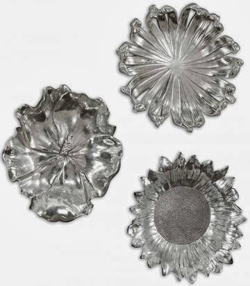 HOME DECORATORS SILVER FLOWER PLAQUES