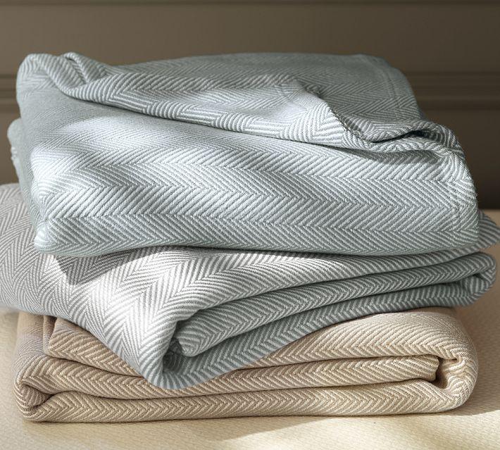 Pottery Barn Herringbone Organic Blanket
