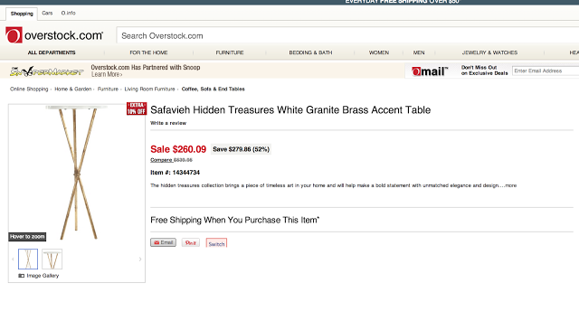 OVERSTOCK SAFAVIEH HIDDEN TREASURES WHITE GRANITE BRASS ACCENT TABLE