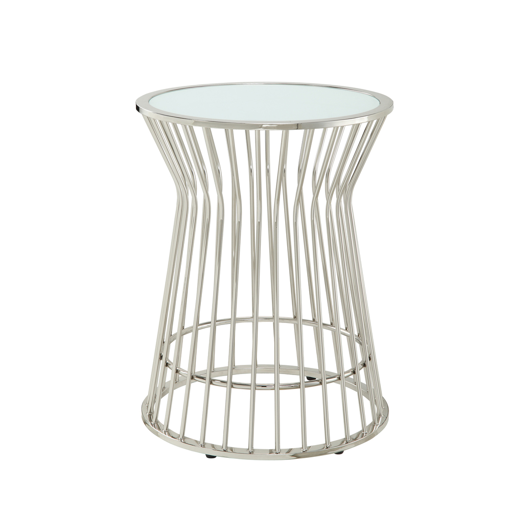 Overstock Kona Contemporary Chrome Platner Glass Top Accent Table