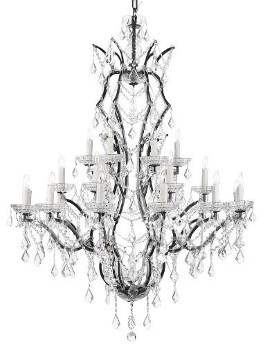 New th C Rococo Iron u Crystal Chandelier