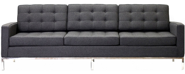 Lex Modern Florence Style Sofa In Dark Gray Wool