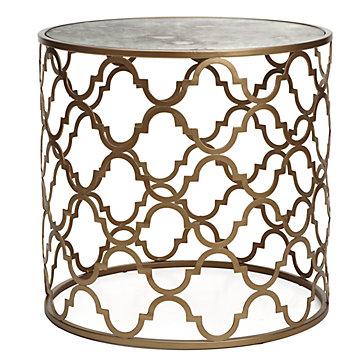 Zinc Door Regina Andrew Gold Leaf Beveled Glass Top Table