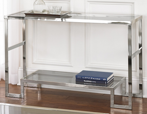 OVERSTOCK CORDELE CHROME AND GLASS SOFA TABLE