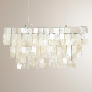 Cost Plus World Market Rectangular Natural Capiz Hanging Pendant Lantern