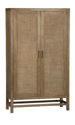 Crate and Barrel Blake Grey Wash 2-Door Cabinet