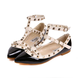 Hee Grand Women Lady Girl Fashion Rivet Cow Leather Flat Pointed Sandals Shoes