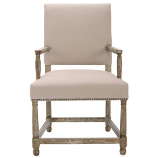 Safavieh Mercer Collection Stratton Linen Side Chair with Nail Head, Beige