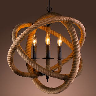 OVERSTOCK WAREHOUSE OF TIFFANY'S ROPE ENCLOSED 3-LIGHT CHANDELIER