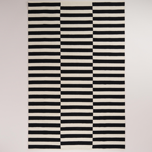 Cost Plus World Market Black And White Stripe Dhurrie Rugs