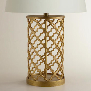 World Market Distressed Gold Moroccan Table Lamp Base